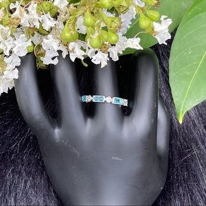 Sterling Silver Blue Cubic Zirconia Band Ring